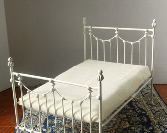 "Artisan Made Dollhouse Miniature Wrought Iron Look Bed ""SEPTEMBER"" 1:12 Scale Twin and Full"