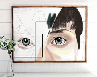 Eyes Handpaint, Printable Art, Printable Home Decor, Modern Print, Digital Art Print, Art Decor, Home Art Decor, Face Art, Modern Art Prints