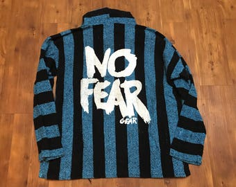 Vintage 1990's No Fear Hoodie festival shirt hippie jacket/sweater XL unisex Stripes blue black RARE 90's streetwear