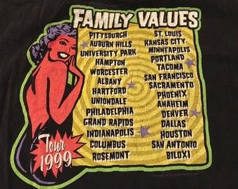 Vintage Family Values Tour Shirt 1999' Limp Bizkit band shirt Korn Heavy metal rock and roll shirt XL unisex