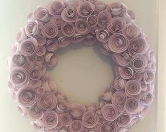 Hand rolled paper rose wreath