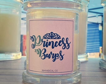 Princess Burps Soy Candle Australia Bubblegum Pink Sugar Scented Fragranced Funny Novelty