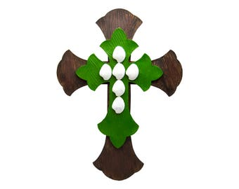 """Large 12.5"""" x 17"""" Brown Green White Layered Wall Cross Hanging Unique Decorative Antique Distressed Rustic Décor For Decorating  Art Crosses"""