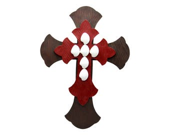 """Large 12.5"""" x 17"""" Brown Burgundy White Layered Wall Cross Hanging Unique Decorative Antique Distressed Rustic Décor Decorating  Art Crosses"""