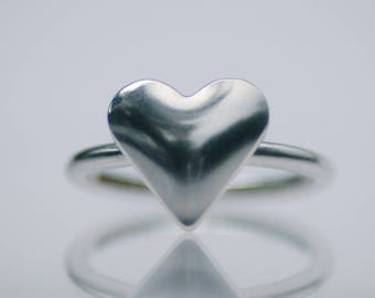Handmade Sterling Silver Heart Ring UK Size-I Half London Hallmarked