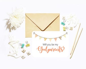 Will You Be My Our Godparents? Single Postcard With Envelope Christening Baptism