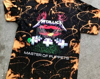 Metallica the master of puppets bleached t shirt color black heavy metal