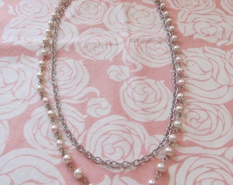Pink glass pearls, silver link chain, double strand necklace, Mother of the Bride, long necklace, pearl jewelry