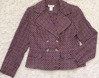 Vintage Miss Dorby Womens Double Breasted Printed Blazer Jacket Suit