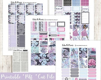 Secret Garden Printable Planner Stickers/Weekly Kit/For Use with Erin Condren/Cutfiles Fall September Glam Fashion Glitter Book Reading TN