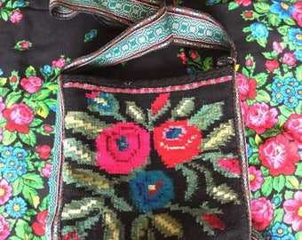Vintage hand woven bag taystra taistra 100% wool messanger ukrainian part of outfit what go with vyshyvanka