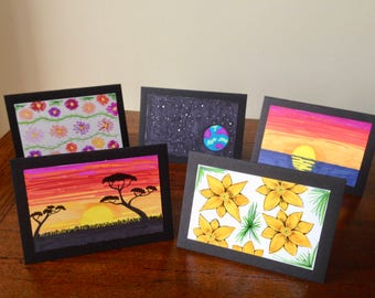 Set of 5 Handmade Greeting Cards with Unique Hand-drawn Designs