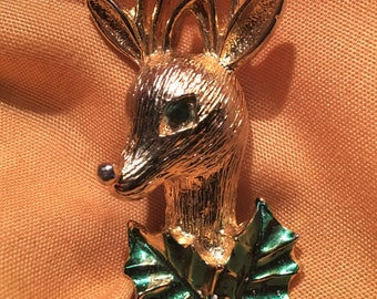 Vintage Christmas Reindeer Brooch. Signed Gerry's. Book Piece