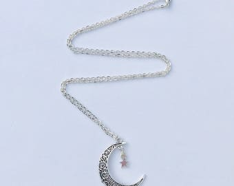 Crescent moon long necklace