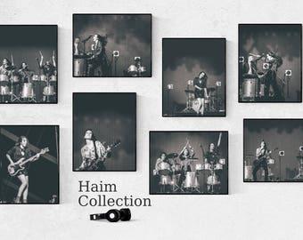 Haim photography prints at Glastonbury Festival, Music festival photos, Black and white concert photography, Celebrity art, 20x16 inches