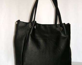 Women Genuine Leather Handbag -mod.35 black
