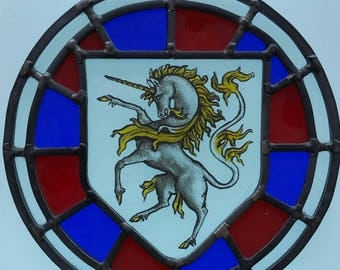 Stained glass unique hand painted heraldic unicorn panel