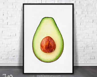Avocado Print, Tropical Kitchen Decor, Modern Kitchen Art, Tropical Fruit, Green Wall Art, Printable Poster, Digital Download, Gift for Mom
