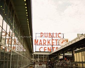 Seattle Pike Place Public Market Center City Photo Print | Cityscape Landscape Wall Art Decor