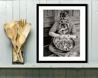 Kitchen Art, Wall Decor, Black and White Photo, Onion Peeler with Gas Mask, Vintage Photo, 1917