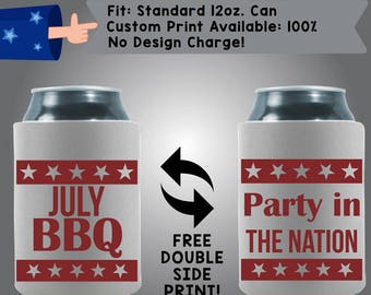 July BBQ Party in the Nation Collapsible Neoprene July 4th Day Custom Can Cooler Double Side Print (FourthofJuly14)