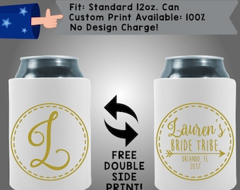 Initial Name's Bride Tribe City State Date Collapsible Fabric Bachelorette Party Cooler Double Side Print (Bachelorette46)