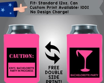 CAUTION Kim's Bachelorette Party in Progress Martini Collapsible Fabric Bachelorette Party Can Cooler Double Side Print (Bachelorette48)