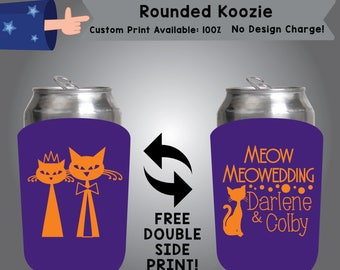 Meow MeoWedding Name & Name Rounded Cooler Double Side Print (RK-W2)