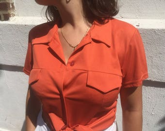 Amazing Vintage Groovy Made in Paris Button Down Blouse | 1970s Short Sleeve Button Up Shirt |  Funky Coral Butterfly Collar Blouse