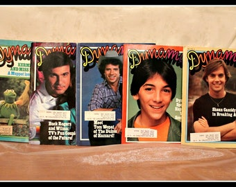 Lot of 5 Vintage Dynamite Children's Magazines, 1980's Kids Publication, Pop Culture, Muppets, Buck Rogers, Dukes, Scott Baio, Shaun Cassidy