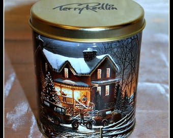 Vintage Terry Redlin Holiday Tin, And Crown Thy Good With Brotherhood, Christmas Cookie Tin, Candy Tin, Festive Decor, Country Christmas