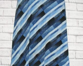 Size 10 vintage 70s calf length a-line skirt diagonal blue stripe print (IC19)