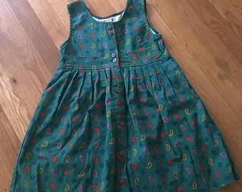 20% off -- 1980's green paisley & geometric print sleeveless dress with pleats - size 6x
