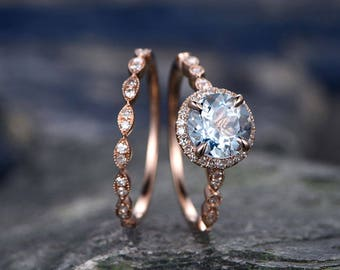 Blue Aquamarine engagement ring set-Solid 14k rose gold-handmade Diamond Wedding ring-2PC Stacking ring-7mm Round shape Marth Birthstone
