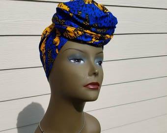 Blue & Yellow Head wrap;Blue African Headwrap; African Clothing; African Fabric Headwrap; African Scarf; Fabric Headwrap: Headwrap; Head tie