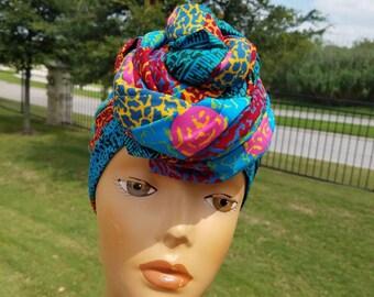 Teal Blue African Headwrap;African Headwrap; African Clothing; African Fabric Headwrap; African Scarf; Fabric Headwrap: Headwrap; Head tie