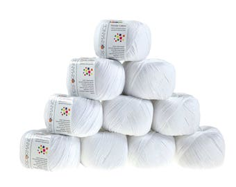 10 x 50 g Knitting yarn dainty white cotton, #02