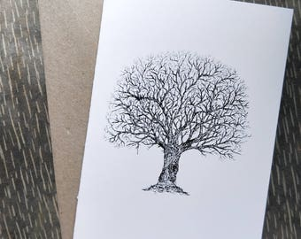A6 Black and White Winter Tree Print Blank Greeting Card