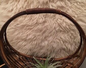 Vintage rattan wicker basket/planter