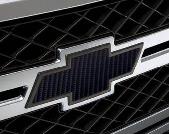 2 - Chevy Bowtie Emblem Overlay Kit - Black - 4D Carbon Fiber
