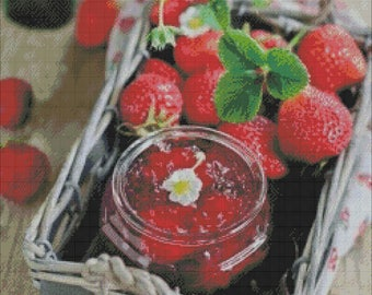 Strawberry cross  stitch pattern,strawberries pdf,strawberry jam embroidery pattern,chart