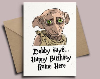 Dobby Harry Potter Personalised Birthday Card - JK Rowling Hogwarts