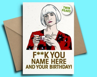 Twin Peaks Diane Laura Dern Personalised Birthday Card with Badge Option Laura Palmer David Lynch