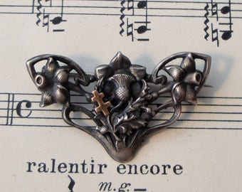 Antique French Art Nouveau Thistle Daffodil Alsatian Cross Pin / Brooch c1920