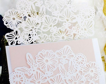 White Lace Wedding Invitation v2 wallet with 2 unprinted inserts (Envelope not Included)