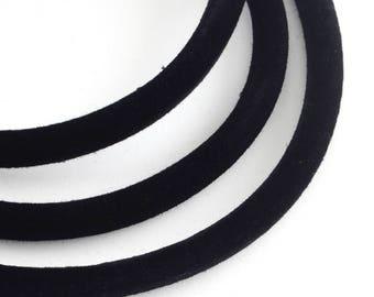 """1 Meter, 1/4""""(5.0mm) Black Round Velvet Cord Thread, with PVC Tube inside"""