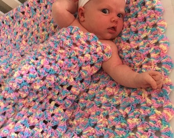 Textured Granny Square Baby Blanket