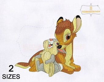 Bambi and Thumper Embroidery Design | 4x4 Hoop | 5x7 Hoop Embroidery Design | Bambi & Thumper Machine Embroidery Designs