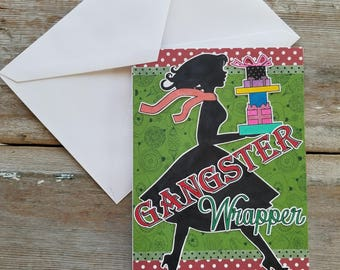 Christmas Card for a Friend - Gangster Wrapper - Funny Christmas Card - Christmas Card Best Friend - Best Friend Greeting Card