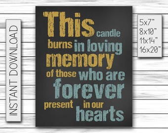 Wedding Decor, Wedding Memorial Sign, This Candle Burns in Loving Memory of Those Forever Present in our Hearts, Printable DIGITAL FILE Only